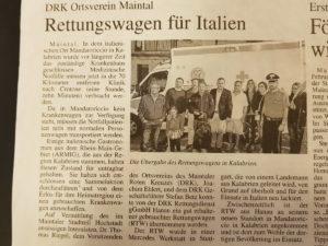 Rettungswagen für Mandatoricio - Zeitungsbericht